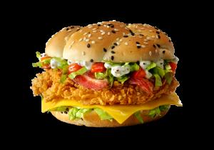 Описание Бургер от шефа теперь Де Люкс! Сочное филе в оригинальной панировке, томаты, салат айсберг, соус Цезарь, аппетитная булочка, ломтик сыра и два ломтика бекона.